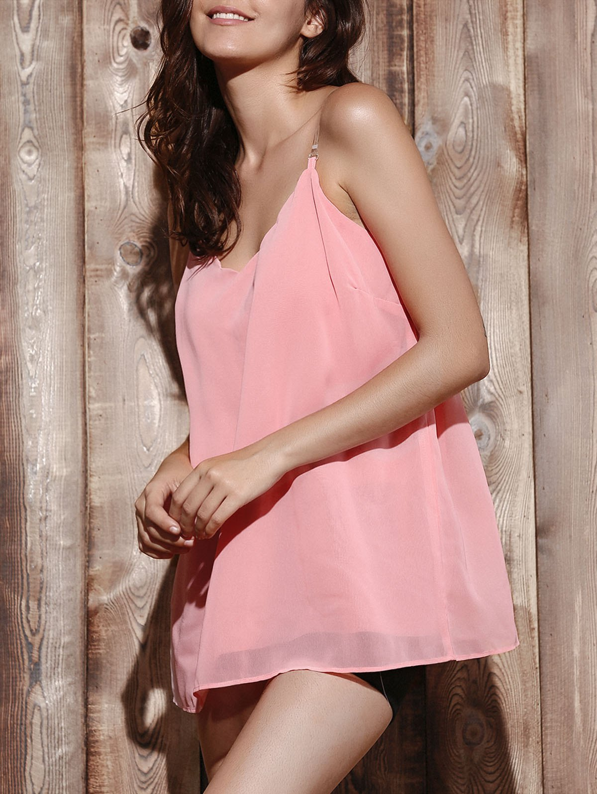 Casual V Neck Pure Color Chiffon Laciness Women's Tank Top - PINK L