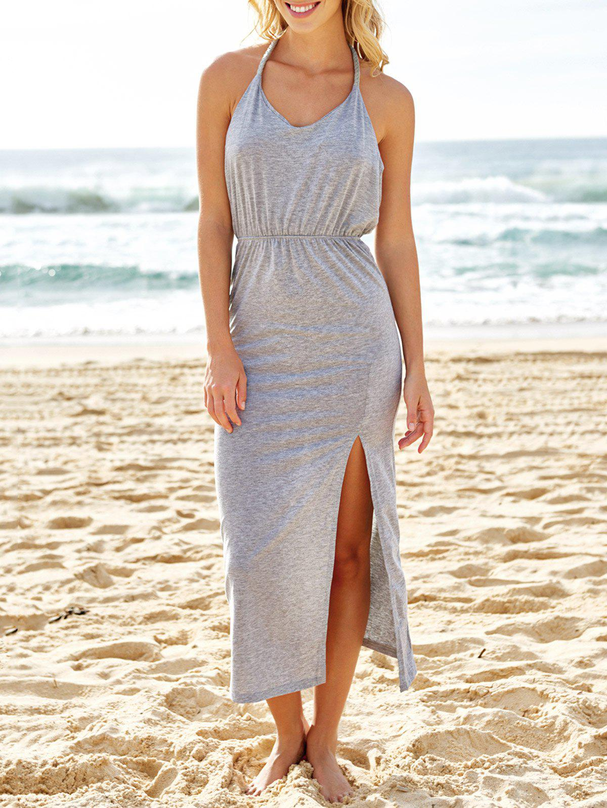 Sexy V-Neck Sleeveless High Slit Backless Womens Taupe DressWomen<br><br><br>Size: XL<br>Color: GRAY