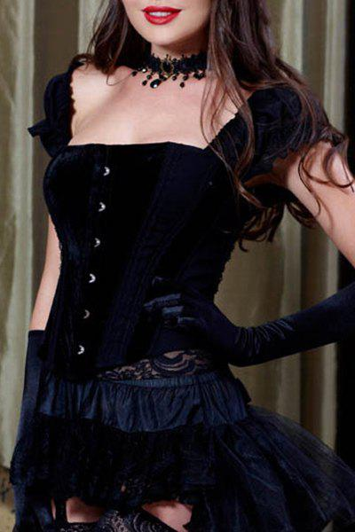 Attractive Women's Slimming Ruffled Sleeves Corset - BLACK M