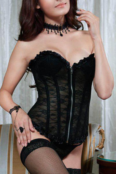 Attractive Women's Lace See-Through Corset - BLACK XL