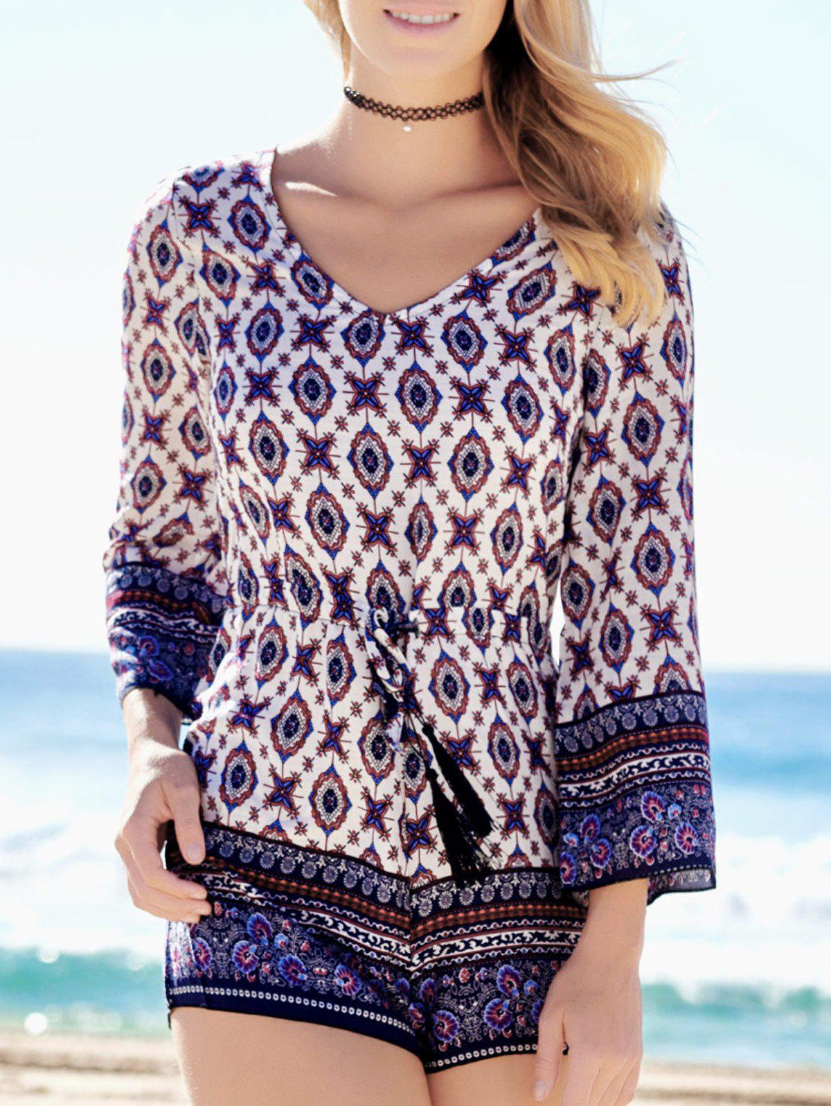 Plunging Neck Graphic Long Sleeve Romper - COLORMIX S