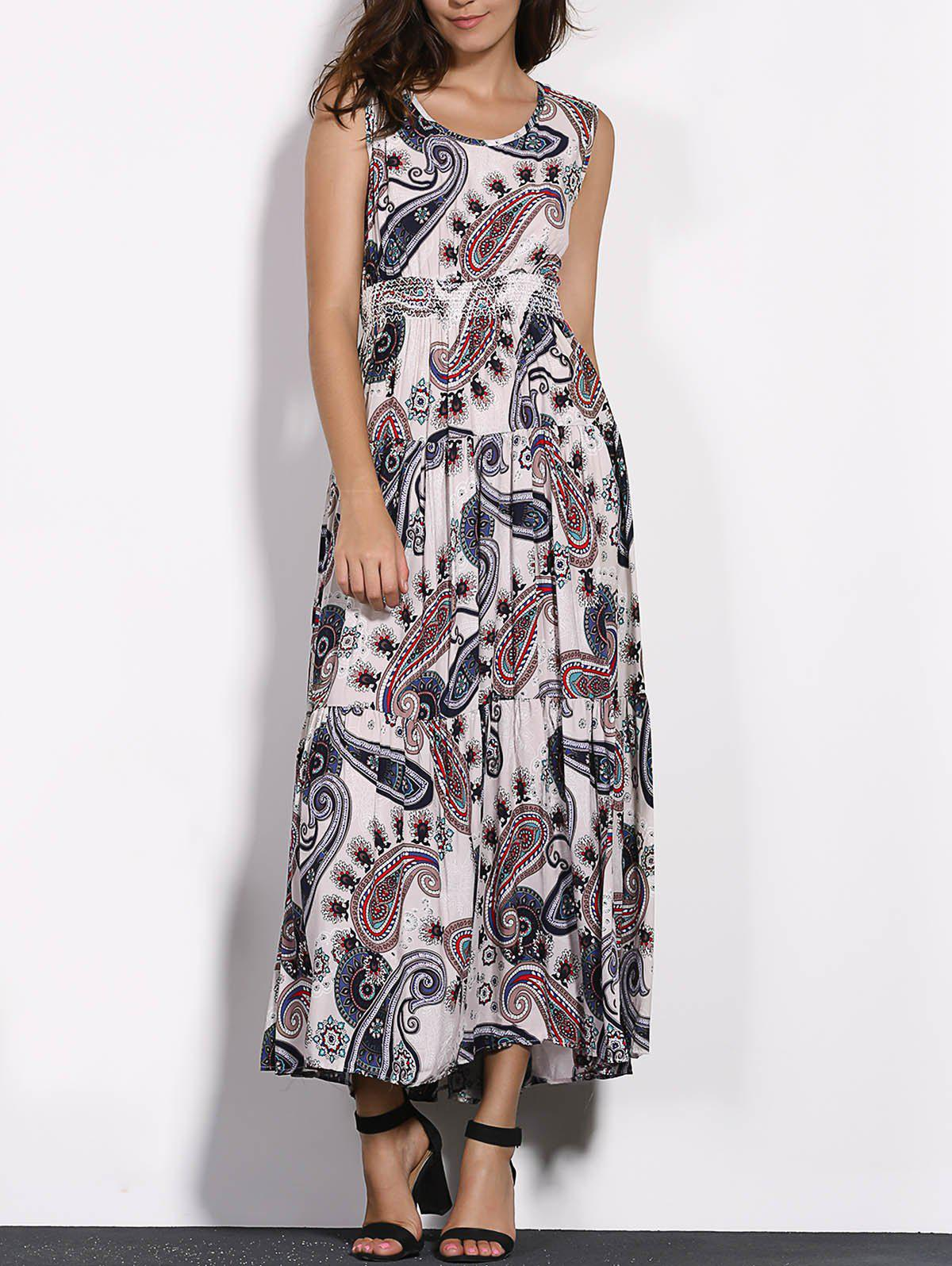 Casual Sleeveless Printed High Waist Maxi Dress For WomenWomen<br><br><br>Size: ONE SIZE(FIT SIZE XS TO M)<br>Color: APRICOT