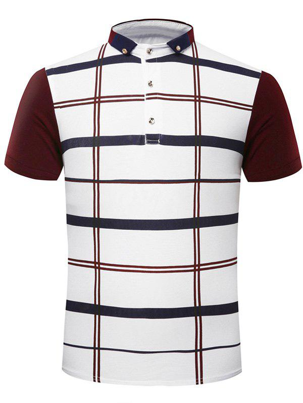 Fashion Turn-Down Collar Plaid Print Short Sleeve Men's Polo T-Shirt - WINE RED L