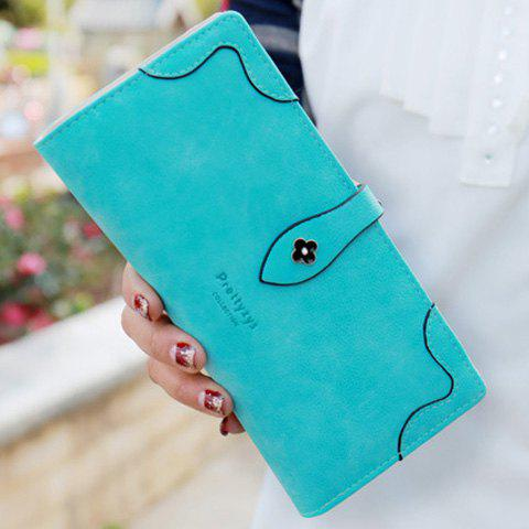 Sweet Letter and Stitching Design Women's Clutch Wallet - TURQUOISE
