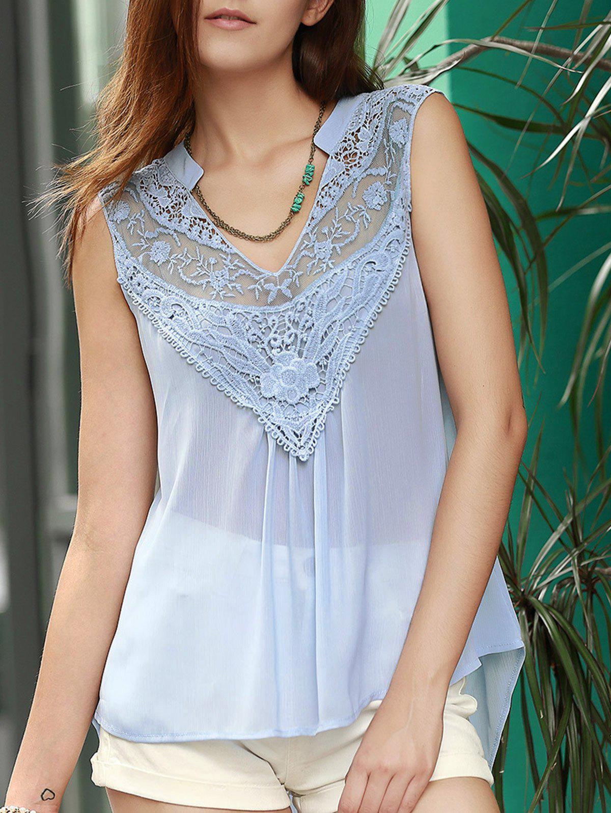 Trendy V Neck Lace Spliced Chiffon Tank Top For Women trendy women s v neck lace embellished tank top