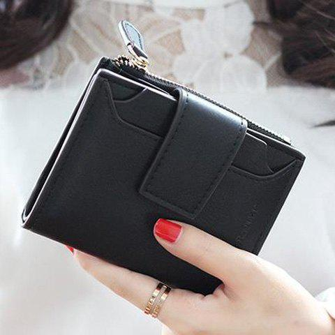 Simple Solid Color and Hasp Design Women's Small Wallet - BLACK