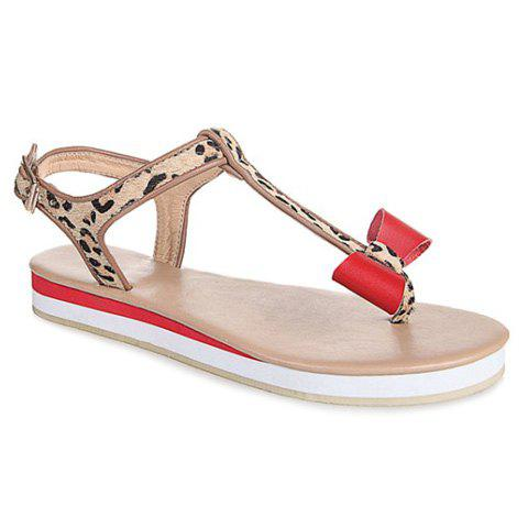 Trendy Splicing T-Strap and Bowknot Design Women's Sandals - RED 39
