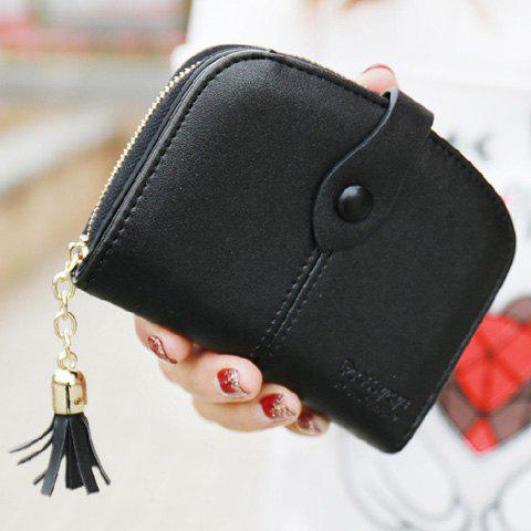 Trendy Tassel and Solid Color Design Women's Small Wallet - BLACK