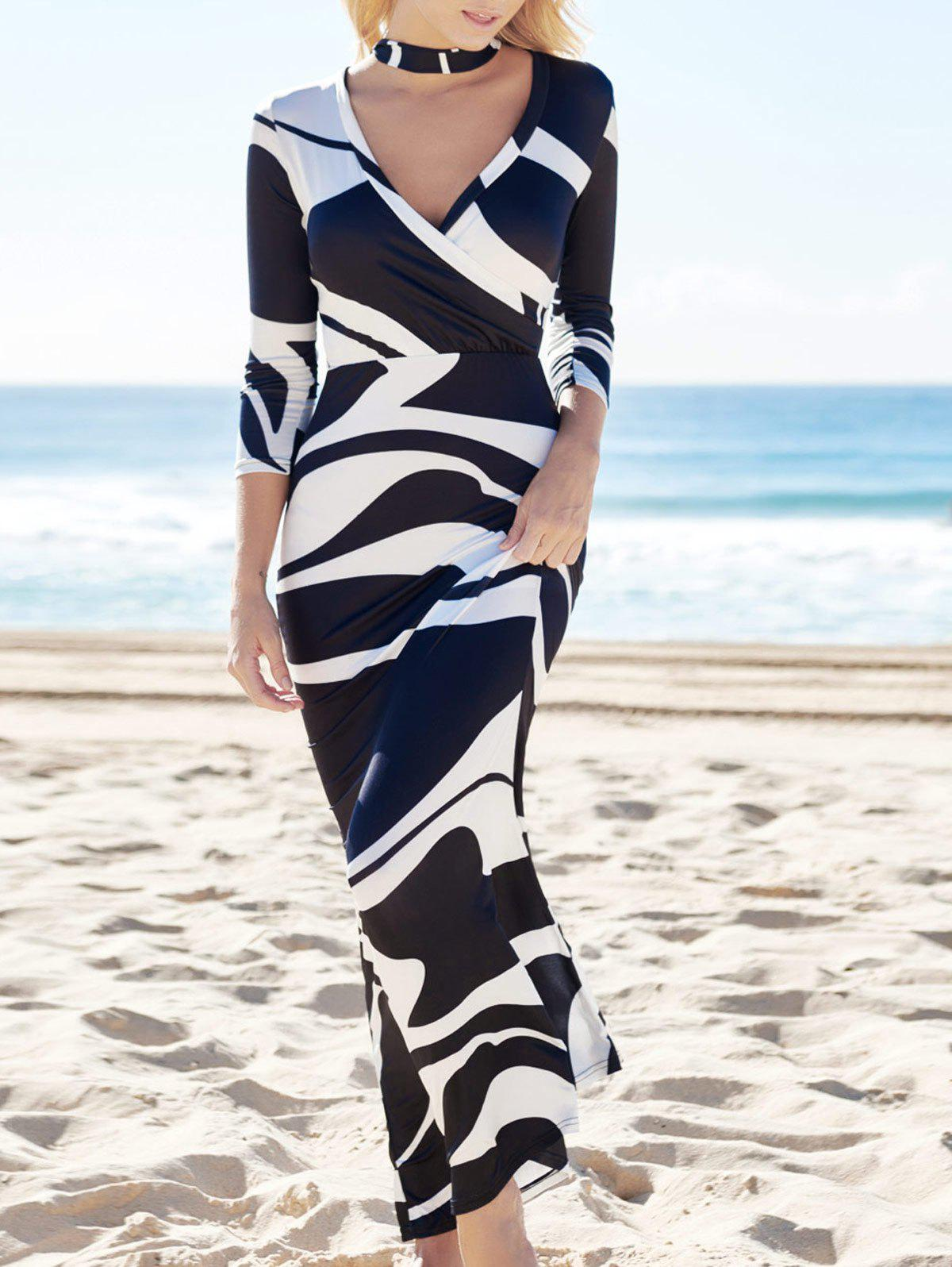 Attractive High Waist Plunging Neck Abstract Printed Women Maxi Dress - WHITE/BLACK XL