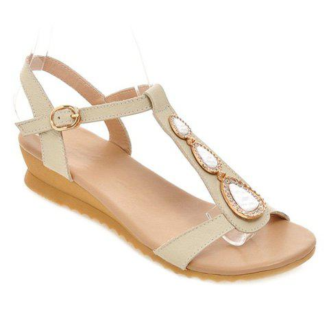 Sweet Rhinestone and T-Strap Design Women's Sandals - OFF WHITE 38