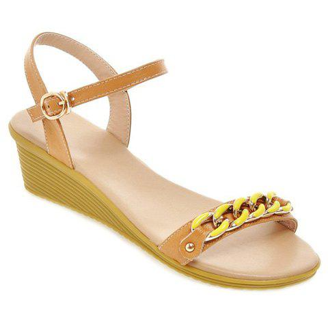 Sweet Chain and Wedge Heel Design Women's Sandals - APRICOT 34