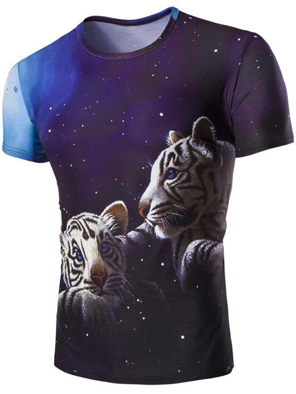 Men's 3D Tiger and Sky Print Round Neck Short Sleeves T-Shirt - COLORMIX M