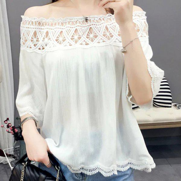 Trendy Slash Neck Hollow Out Lace Blouse For Women