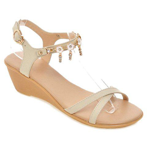 Concise Rhinestone and Cross Strap Design Women's Sandals - OFF WHITE 34