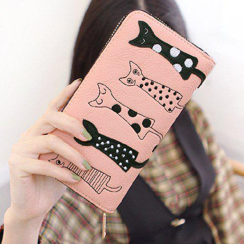 Cute Cat Pattern and Zip Design Womens WalletBags<br><br><br>Color: PINK