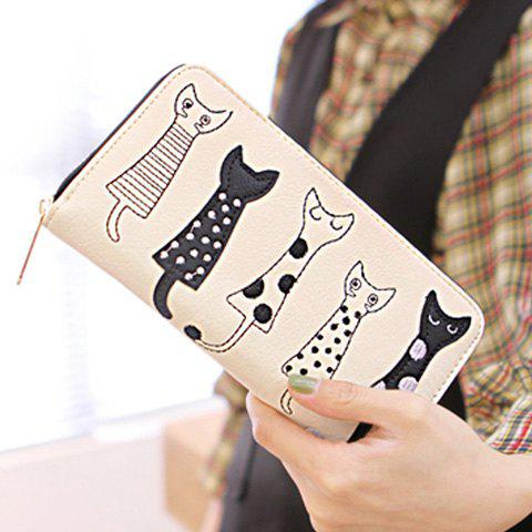 Cute Cat Pattern and Zip Design Women's Wallet - WHITE