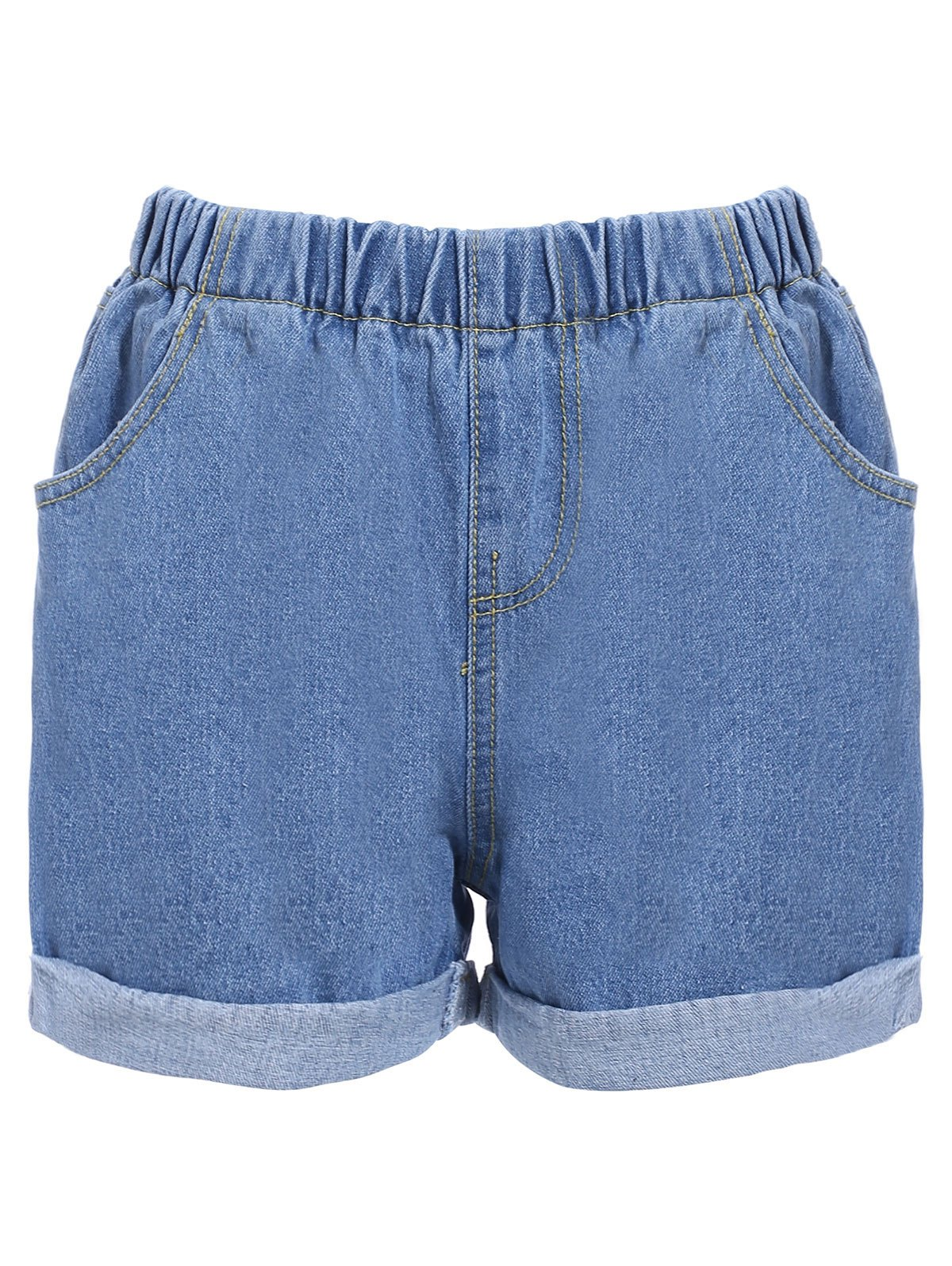 Trendy Elastic Waist Hemming Pocket Design Women's Shorts - LIGHT BLUE L
