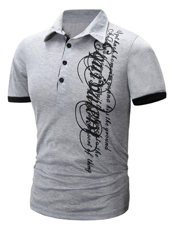 Modish Turn-Down Collar Letter Printing Short Sleeve Polo T-Shirt For Men - LIGHT GRAY L