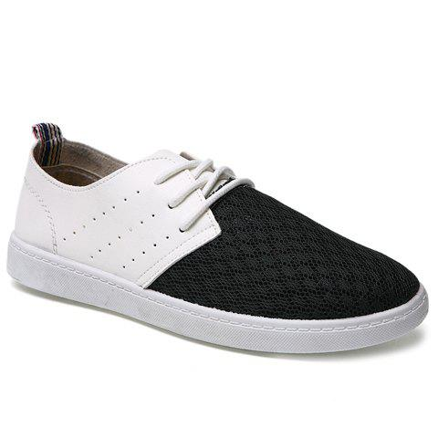 Fashionable Color Block and Mesh Design Men's Casual Shoes - BLACK 44