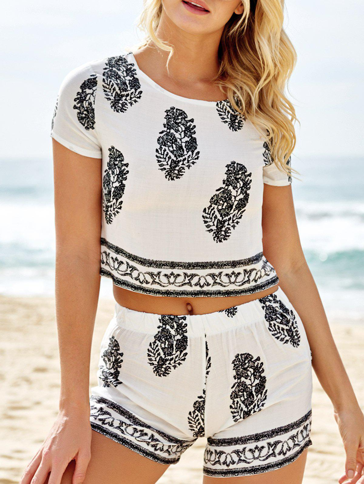 Stylish Short Sleeve Crop Top and Leaf Print Shorts Women's Suit - WHITE S