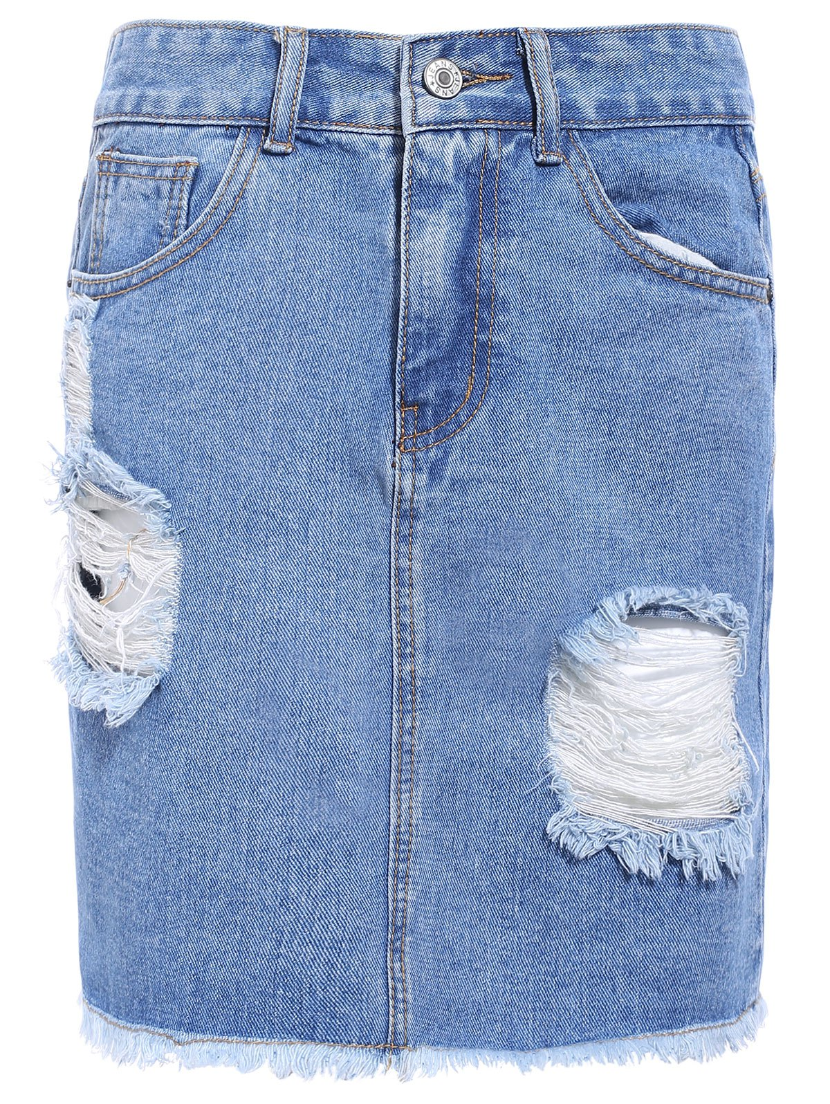 Fashionable Broken Hole Fringed Pocket Design Women's Denim Skirt - LIGHT BLUE L