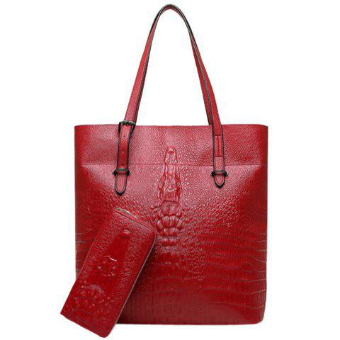Stylish Solid Color and Embossing Design Women's Shoulder Bag - RED