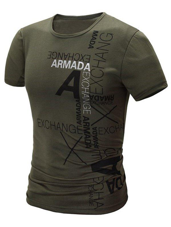 Stylish Round Neck Letter Print Short Sleeve Men's T-Shirt - ARMY GREEN L