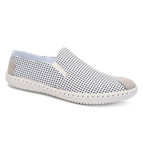 Concise Slip-On and Round Toe Design Men's Casual Shoes - WHITE 44