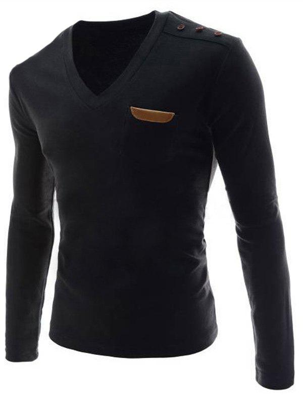 V-Neck Buttons Embellished PU-Leather Edging Long Sleeve Men's T-Shirt - BLACK M