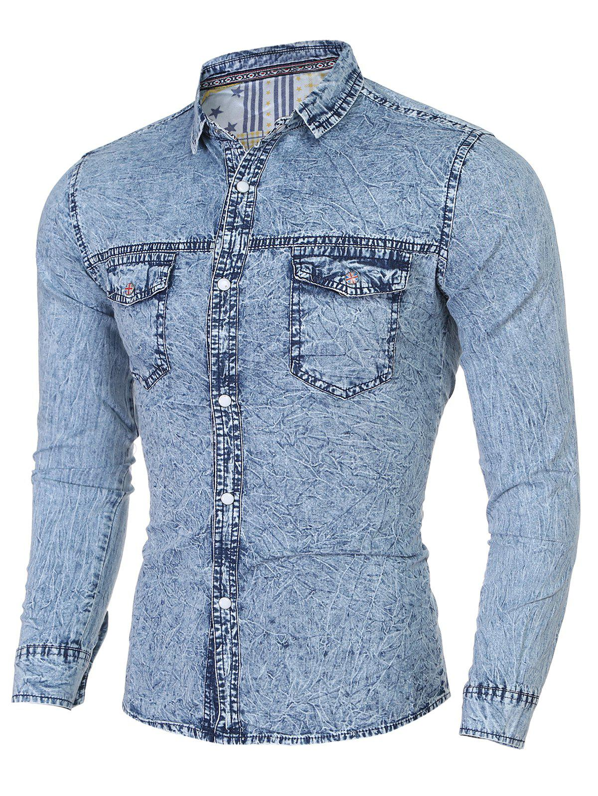 Fashion Turn-Down Collar Stars Print Long Sleeve Denim Shirt For Men - LIGHT BLUE XL
