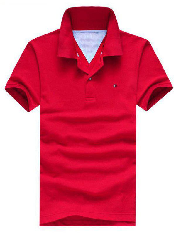 Turn-Down Collar Embroidered Design Short Sleeve Men's Polo T-Shirt - RED M