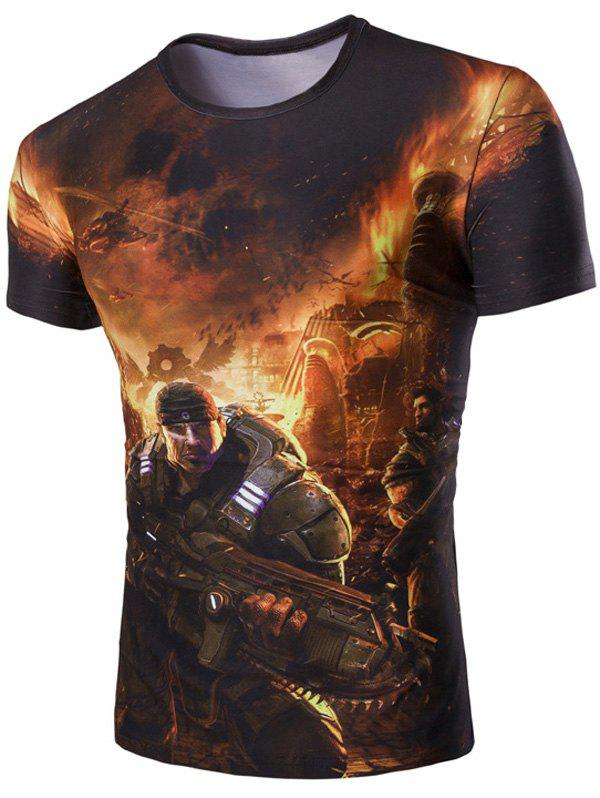 Men's 3D Soldier and Fire Print Round Neck Short Sleeves T-Shirt - GREEN M