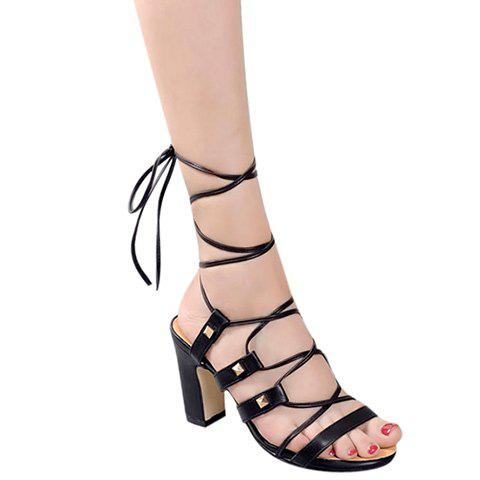 Roman Chunky Heel and Lace-Up Design Women's Sandals - BLACK 38