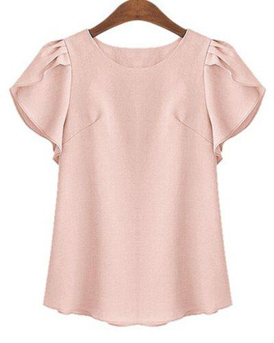 Plus Size Brief Round Neck Short Ruffled Sleeve Pure Color Women's Shirt - SHALLOW PINK 2XL