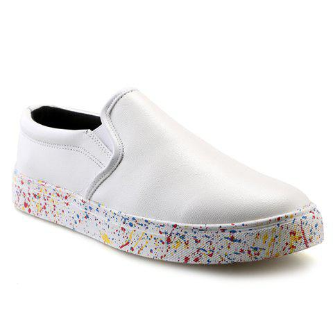 Simple Solid Color and PU Leather Design Men's Loafers - WHITE 42