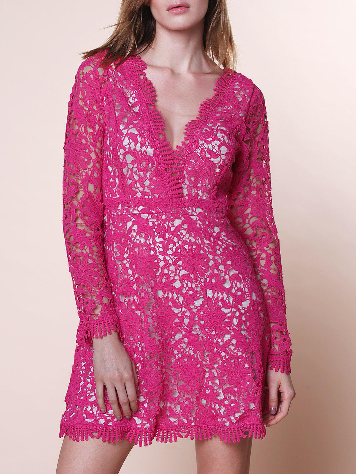 Cut Out Plunging Neck Long Sleeve Lace Dress - ROSE M