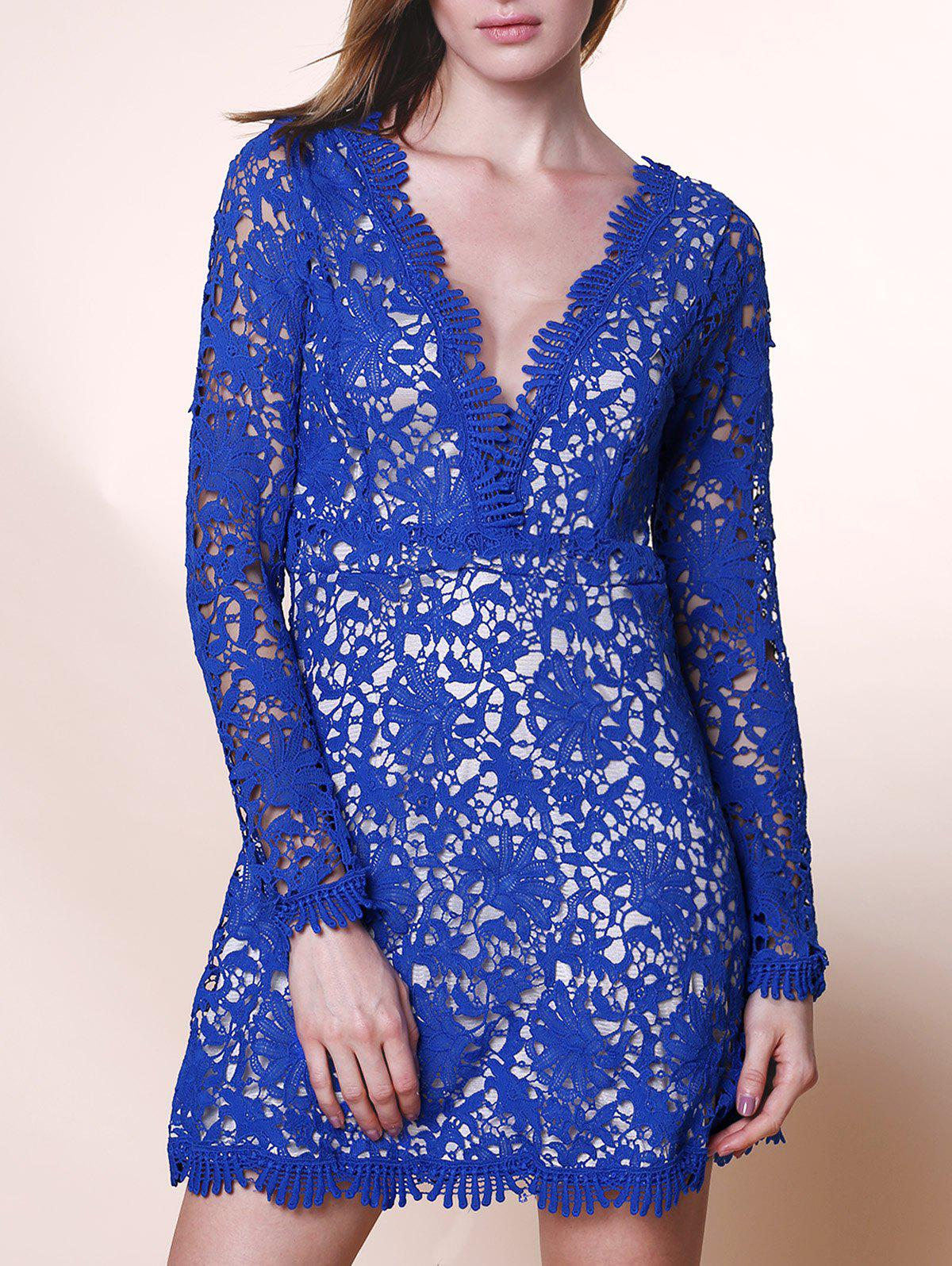 Elegant Cut Out Plunging Neck Long Sleeve Solid Color Lace Women's Dress - BLUE S