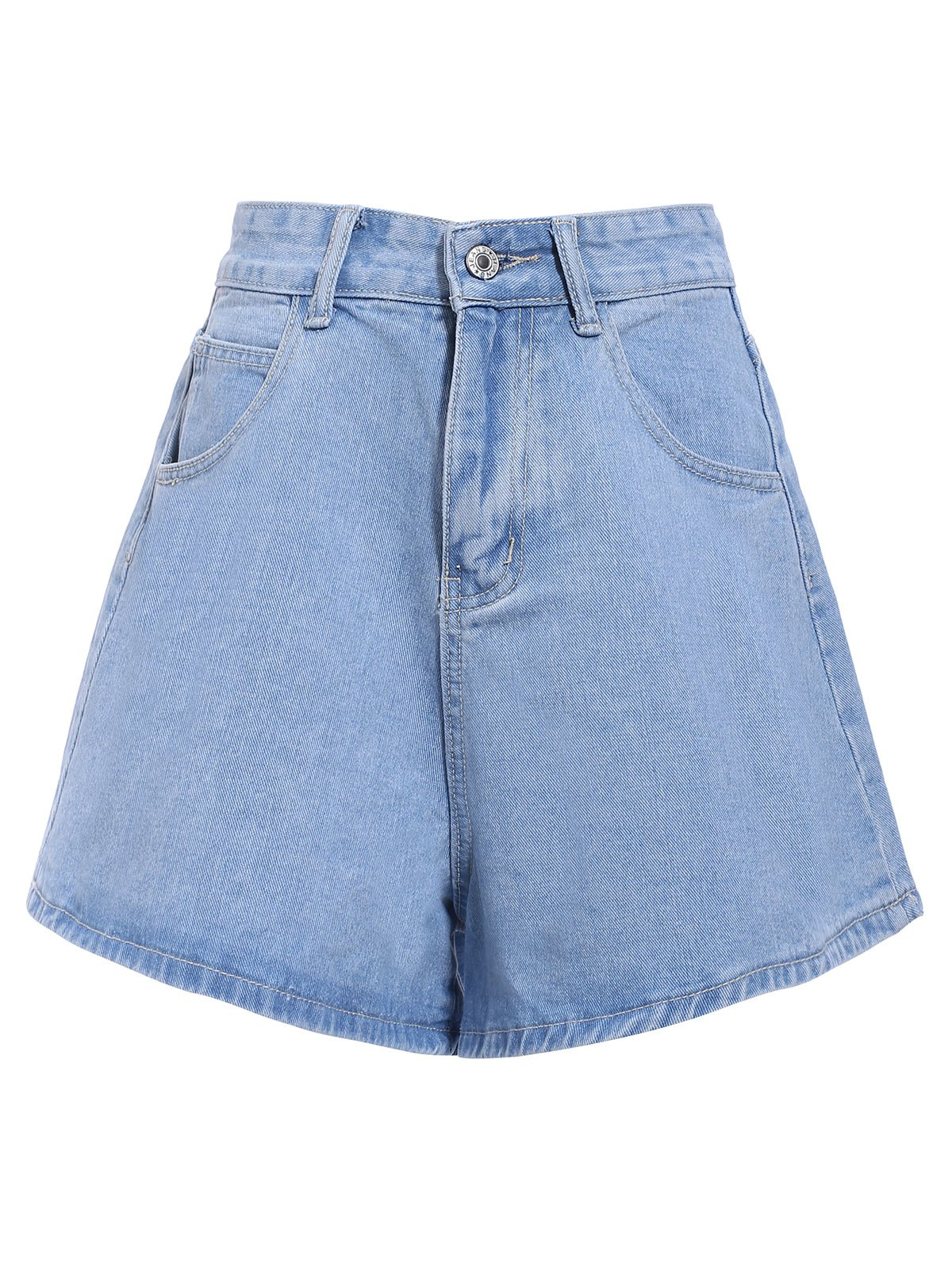 Chic Mid-Waisted Loose-Fitting Pure Color Pocket Design Women's Shorts