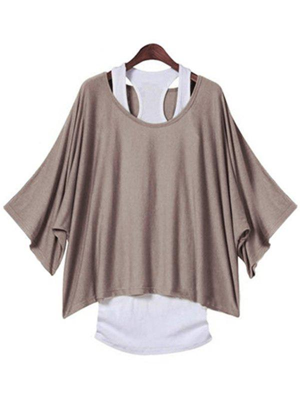 Stylish Scoop Neck Batwing Sleeve Loose-Fitting T-Shirt and Solid Color Top Twinset For Women - DARK KHAKI M