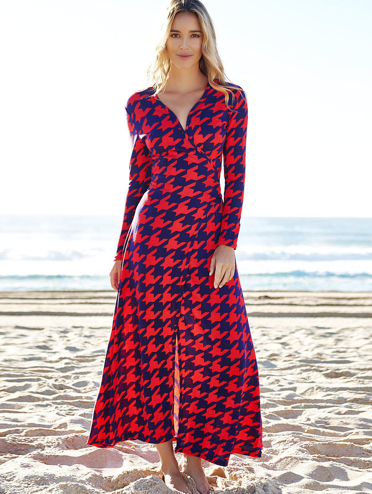 Alluring Plunging Neck 3/4 Sleeve High Slit Houndstooth Women's Dress - RED S