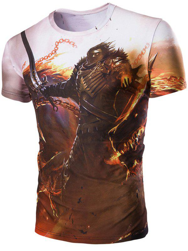 Men's 3D Hero and Fire Print Round Neck Short Sleeves T-Shirt - COLORMIX M