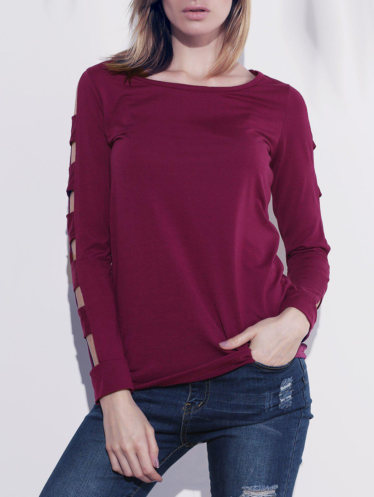 Elegant Women's Solid Color Cut Out T-Shirt For Women - RED S