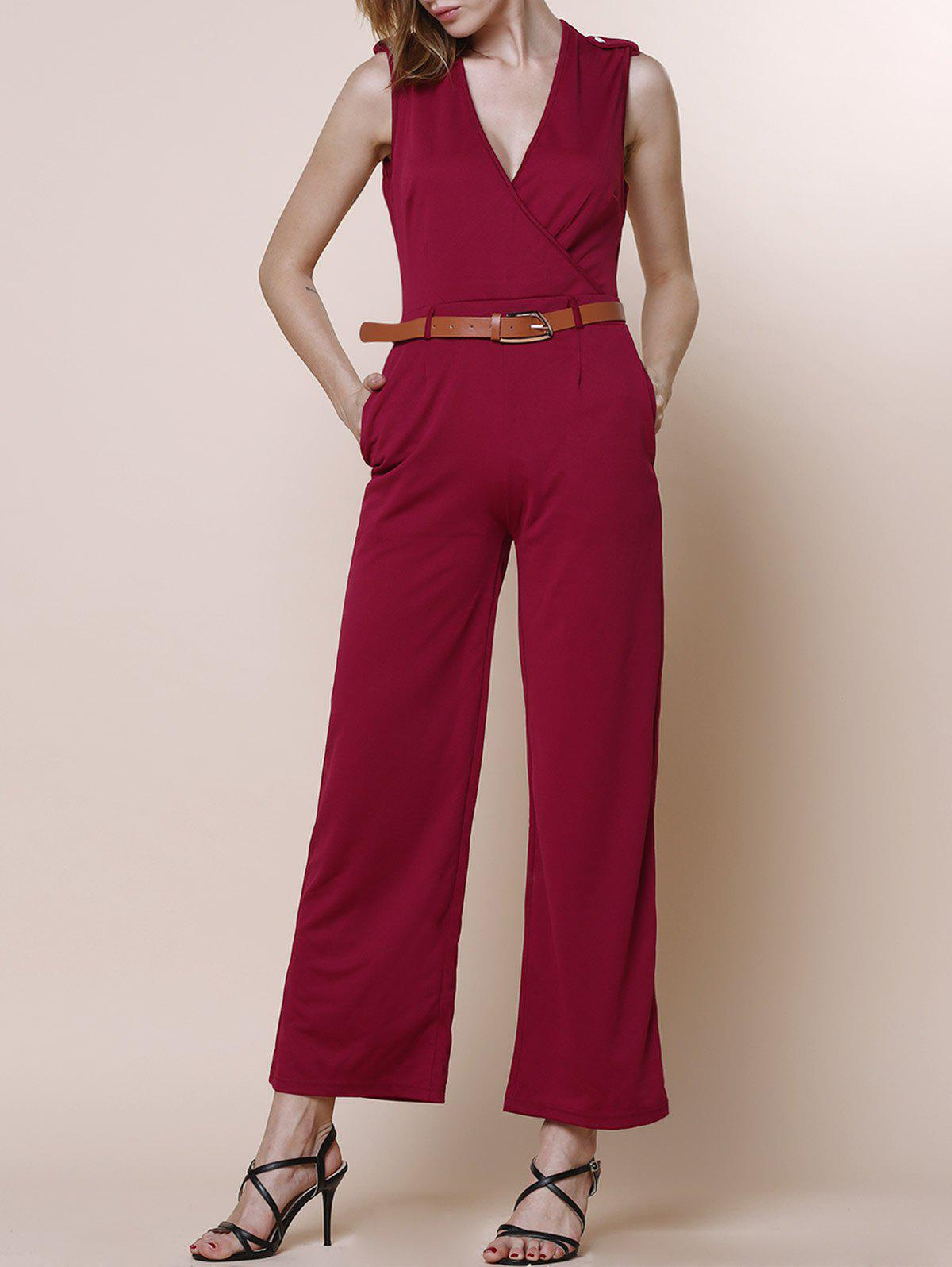 V-Neck Sleeveless Pure Color Jumpsuit For Women - RED S