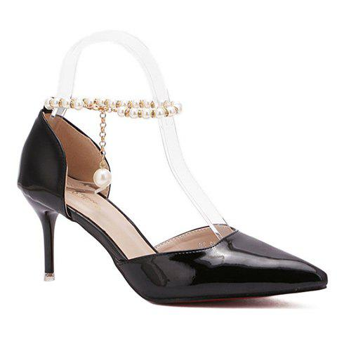 Elegant Beading and Pointed Toe Design Women's Pumps - BLACK 39