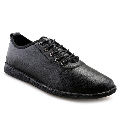 Simple Solid Colour and Lace-Up Design Men's Casual Shoes - BLACK 42