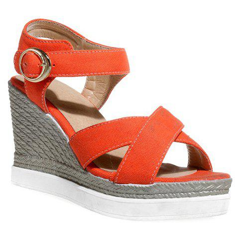 Fashion Cross Strap and Cloth Design Women's Sandals - JACINTH 38
