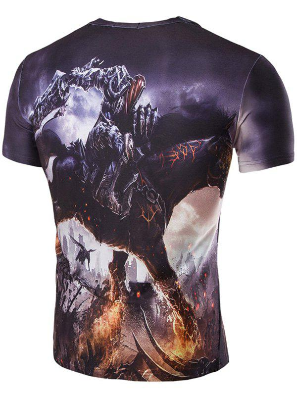 Men's 3D Abstract Horse Print Round Neck Short Sleeves T-Shirt - COLORMIX M