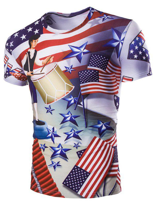 Casual Stars Printed Men's Short Sleeves T-Shirt - M COLORMIX