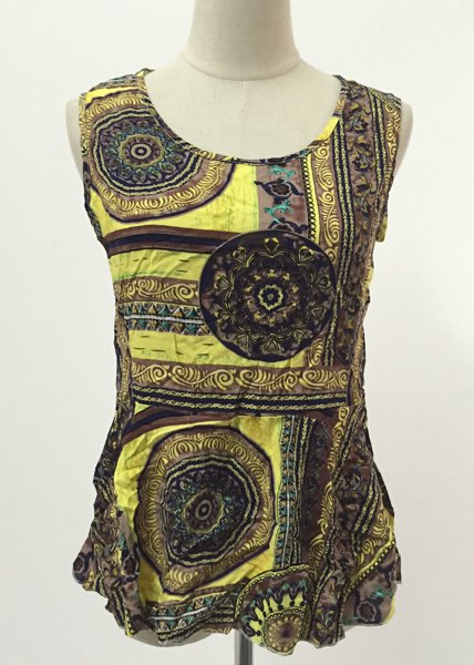 Chic Women's Round Neck Printed Open Back Sleeveless Blouse - COFFEE/YELLOW L