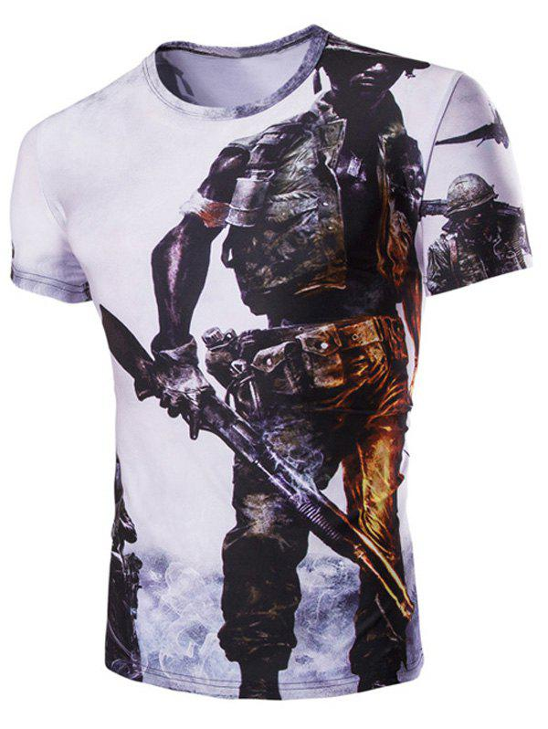 Casual Soldier Printed Men's Short Sleeves T-Shirt - WHITE L